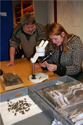 """Preben Rønne and Ruth Iren Øien at the artifact storage room, looking at the material from the forges."" Photo: Tove Eivindsen/NTNU Museum"