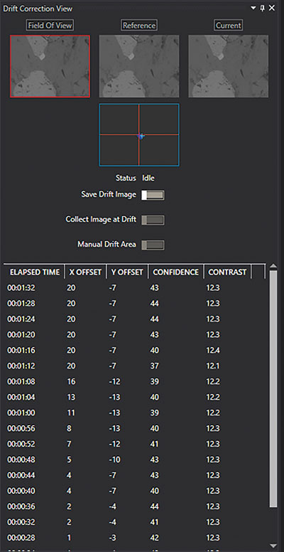 Drift Correction view panel.