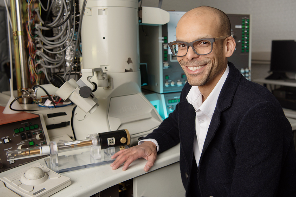Materials science and engineering professor Shen Dillon uses electron microscopy and targeted laser heating for ultra-high temperature testing of aeronautical materials.