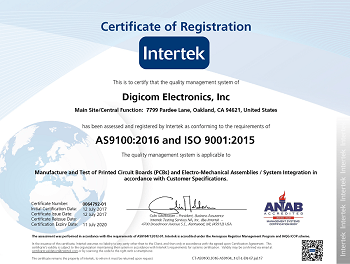 Digicom Electronics Receives AS9100:2016 (RevD) Aerospace and ISO 9001:2015 Certifications