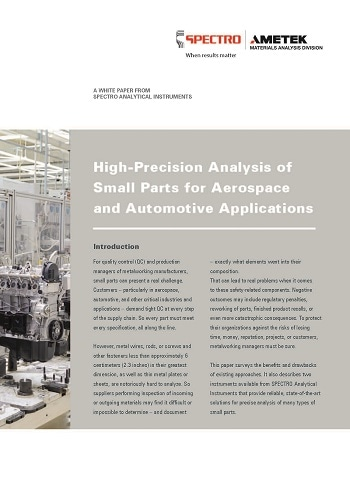New White Paper Discusses High-Precision Elemental Analysis of Small Parts for Aerospace and Automotive Applications