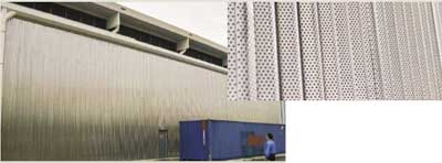 445M2 walling and an exploded view of the perforated stainless steel acoustic panel on the right.