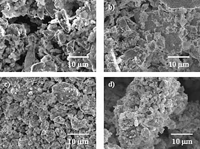 AZoJomo - The AZO Journal of Materials Online - SEM micrographs of (Ni50Mo25W25)50Al50 alloys prepared by MA: a) 3 h before leaching,   b) 3 h after leaching, c)9 h before leaching, and d) 9 h after leaching