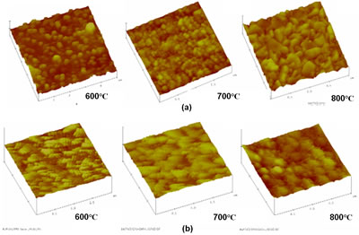 "AFM micrographs of the ""as coated"" BT thin films sintered at 600, 700 and 800°C of a)BaTiO3/ITO-2min/Si(111) and b) BaTiO3/ITO-1min/Si (111)."