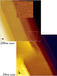 Height image of PTFE layer obtained in tapping mode in air. Higher magnification images shown in the top part of Figures 3a-b were obtained at the locations marked with dotted lines. Etched Si probe was used in the experiments.