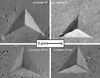Figure 5. SEM images of indents from the samples. (a) as-plated sample
